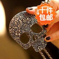 1426 fashion punk vintage decorative pattern skull pendant necklace long necklace