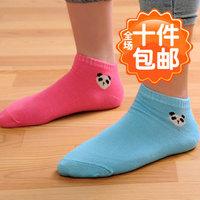 6687 socks candy color socks cartoon panda head portrait sock slippers