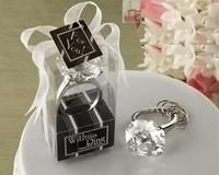 Free Shipping 20 pcs /Bag Wedding Favors Pink colour Crystal Diamond Ring Keychain