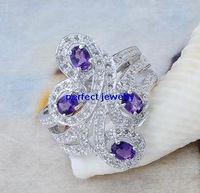 Free shipping Amethyst ring Natural amethyst 925 sterling silver plated 18k white gold Luxury finger jewelry