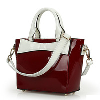2013 new arrival japanned leather women's genuine leather handbag fashion color block women leather tote / free shipping