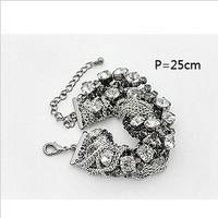 Free shipping! gift! Fashion jewelry new style Round mixed Rhinestone woven magnet Vintage Bracelet