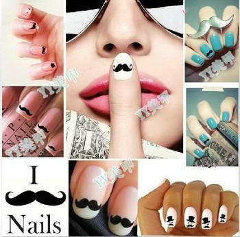 Freeshipping- Fashion Nail Wrap Water Transfer Nail Art Sticker Moustache Design Dropshipping [5ps]