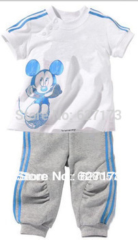 2013 Summer 5sets/lot fashion baby children short sleeve t-shirts Pants clothes set Mickey minnie kids sport suit in stock