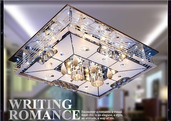 Hot!!! 2013 Low-voltage flat-panel hall living room lamp, absorb dome light rectangular remote j hotel led crystal light   #008