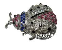 Free shipping wholesale New Silver Ladybug With Rhinestone Necklace Pendant Jewelry Gift USB flash drive 1G 2G 4G 8G 16G 32G