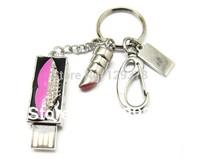 Wholesale new Rectangle USB Lip Shape With Rhinestone Necklace Pendant Gift USB flash drive dish 1GB 2GB 4GB 8GB 16GB 32GB