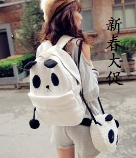 Women's handbag 2012 cartoon panda picture package lovers bag backpack student bag canvas bag female