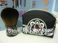 Hello Kitty Natural Animal Black Soft Hair Makeup Tool Blush With Bag,Face Power Brush #182 (1 pcs/lot)