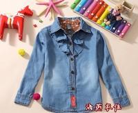 Free shipping  2014 new hot girls wild fashion elegant lace stitching denim casual shirts