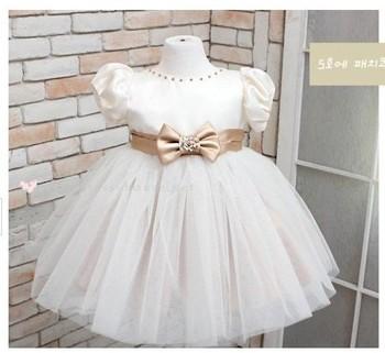 1 Set Retail,Girl's princess dress, female children dress, the girls of summer dress, Bowknot is white princess dress