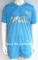 Free shipping 13 14 Best quality Marseille Away Light Blue,fans version/Soccer unifrom original brand New13-14 wholesale