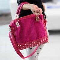 2013 personality rivet patchwork shoulder bag women's handbag pink handbag free shipiing