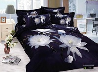 Hot sale!4pcs 3d bedding sets 100% cotton .lotus Flower Printed bed clothes the bed linen queen size black and white5021