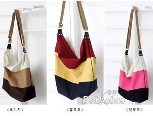 Thickening three-color multicolour stripe patchwork canvas bag one shoulder cross-body women's handbag bag