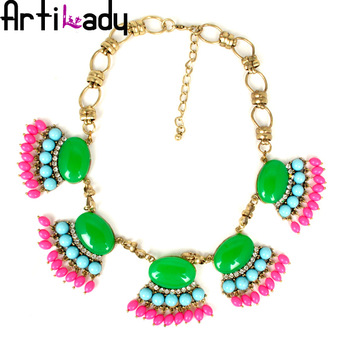 Artilady fashion pink stone vintage colorful statement necklace engagement necklace jewelry womens jewelry 2013 new