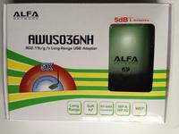Free shipping High power ALFA AWUS036NH 2000mw wifi usb adapter 5db antenna ralink3070 Chipset