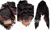 Women cotton+Wool Scarf Shawl Lady luxury designer Square shawl wrap in coffee 150*150 cm  M72046 M74896 M71378 M74895 M71376