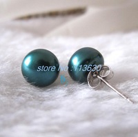 6mm Teal Freshwater Pearl Studs Earrings Silver Post