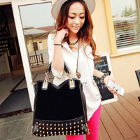 2013 new female bag rivet package stitching flannel bag shoulder bag fashion handbag Rivet Studded handbag