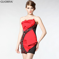 Guoisya festive red married wedding dress lotus leaf petals three-dimensional one-piece dress luxury beaded ga1851