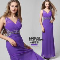 Guoisya lace evening dress purple 2013 trailing dress