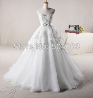 Free Shipping Organza With Beaded Ball Gown Newest Style Wedding Dress Custom Size Color