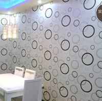 Free shipping Modern brief fashion wallpaper black and white circle waterproof pvc tv background wall wallpaper