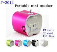 Freeshipping 1pc T-2012 Portable mini speaker TF card and USB disk music player with FM radio digital player