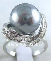 Beautiful Grey Shell Pearl Ring Size 8