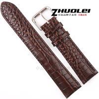Crocodile pattern genuine leather watchband brown black 18 19 20 22mm male