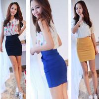 2013 high waist slim hip skirt short skirt step skirt personalized pocket bag skirt