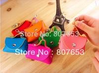 freeshipping  cute mini PU leather Handbag fashion keychain bag Coin wallet Purse change pocket holder 7colors mix
