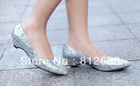 Silver glitter women's flats 3CM fashionable ladies wedding party dress shoes   N-2012748