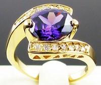 New Design Brand Fashion jewlery Amethyst  sapphire Luxury Women's Square Blue Tanzanite Crystal 10KT  yellow Gold Filled Ring