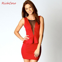 Vintage richcoco V-neck gauze sexy patchwork racerback one-piece dress twinset d013