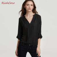 Richcoco ol elegant loose pumping the fifth sleeve half sleeve pullover V-neck solid color chiffon shirt c040