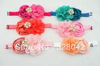 Trail order silk puff rosettes flower headbands pearl button beauty chiffon lace eyelet flower FOE headbands 20pcs/lot