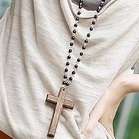 Free shipping small accessories black bead wool cross necklace chain sweater