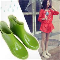 Short wedges autumn and winter female fashion transparent plastic glue rain boots rainboots water shoes mules