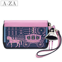Aza fashion vintage cowhide wallet fairy tale princess preppy style color block women's short design wallet 10966