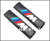 Free shipping Car Seat Belt 10pairs Shoulder Pad Truck  Belt Cover for BMW (All Car Model) Auto Carbon Shoulder pad 1pair=2pcs