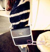 Black and white nostalgic vintage fashion elegant bow petty messenger bag