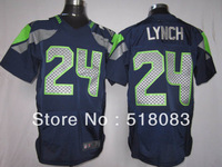 Free Shipping Men's Seattle Jerseys 24 Marshawn Lynch Elite Navy Cheap Football Jerseys Embroidery and Sewing logos Size:40-56