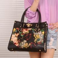 2013 women's handbag print vintage briefcase shoulder bag handbag messenger bag oil painting flower female bags