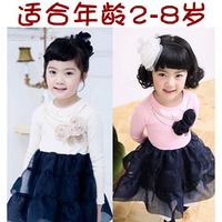 2013 female child spring long-sleeve dress 100% cotton child princess dress z spring