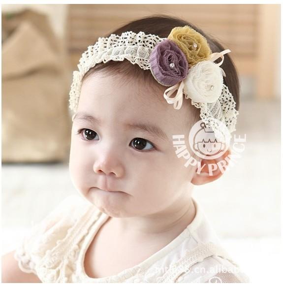 korean style Lotus flower princess flowers in hair,Latest stuffed three little flower with bright drill kids headbands girls(China (Mainland))