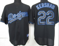 wholesale 2013 usa Los Angeles Dodgers 22 Kershaw Black Fashion Jerseys ,Size 48,50,52,54,56,mix order,Free Shipping