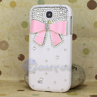 10X Wholesale New Fashion White Silver Bowknot Metal Skin Bling Case Cover For Samsung Galaxy SIV S4 i9500 Free Shipping