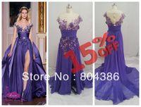 Free shipping real image emboridery front slit chiffon long prom dress zuhair murad custom made evening dress